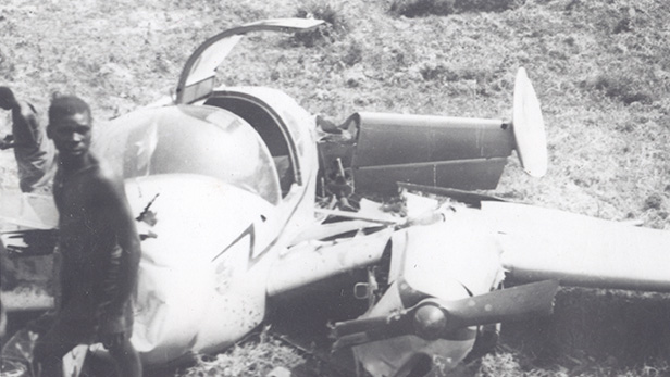 The crash of the 'Midmay Pathfinder' a Miles Gemini aircraft, and the end of the 1948 survey of Africa.