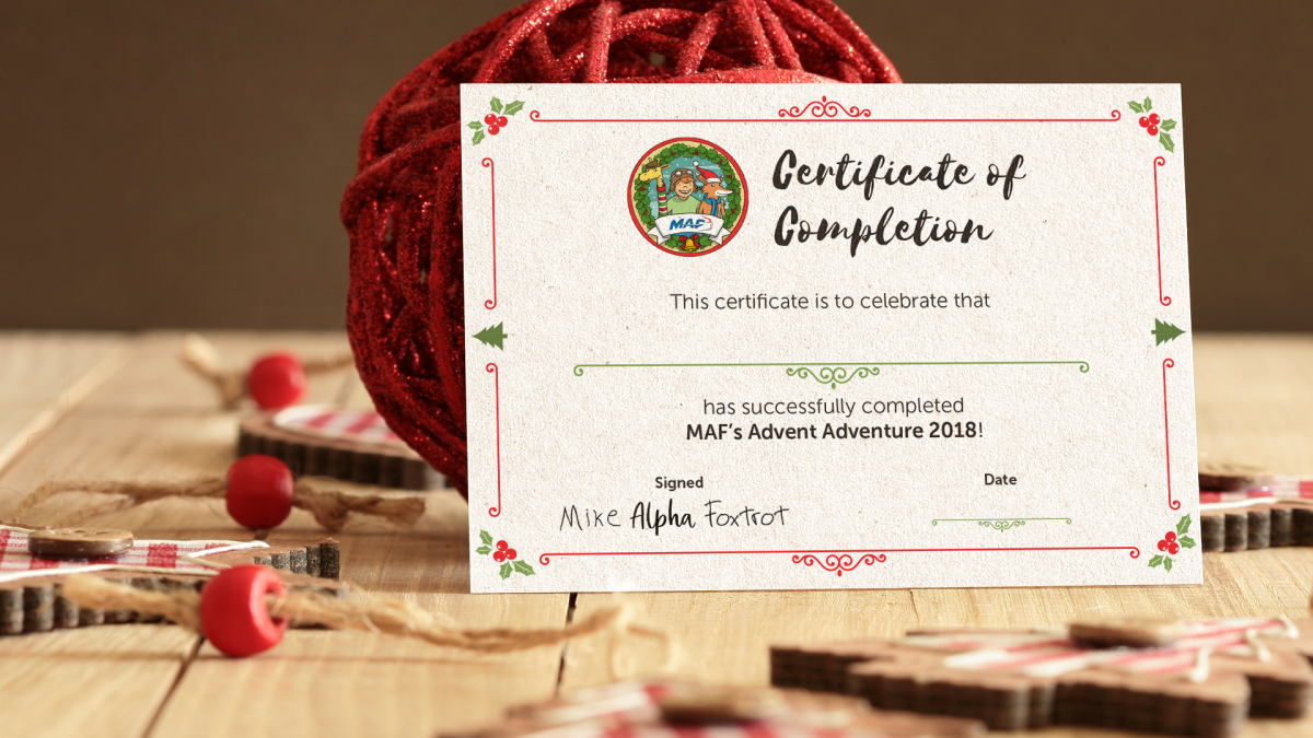 MAF Advent Certificate
