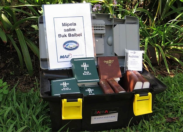 Bible box carried by MAF pilots in Papua New Guinea