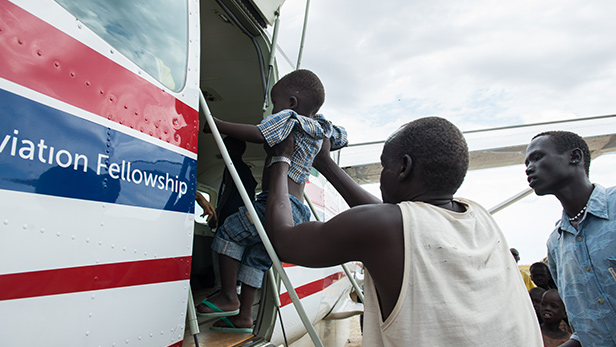 A family of 5 is flown to Juba from Motot, South Sudan.