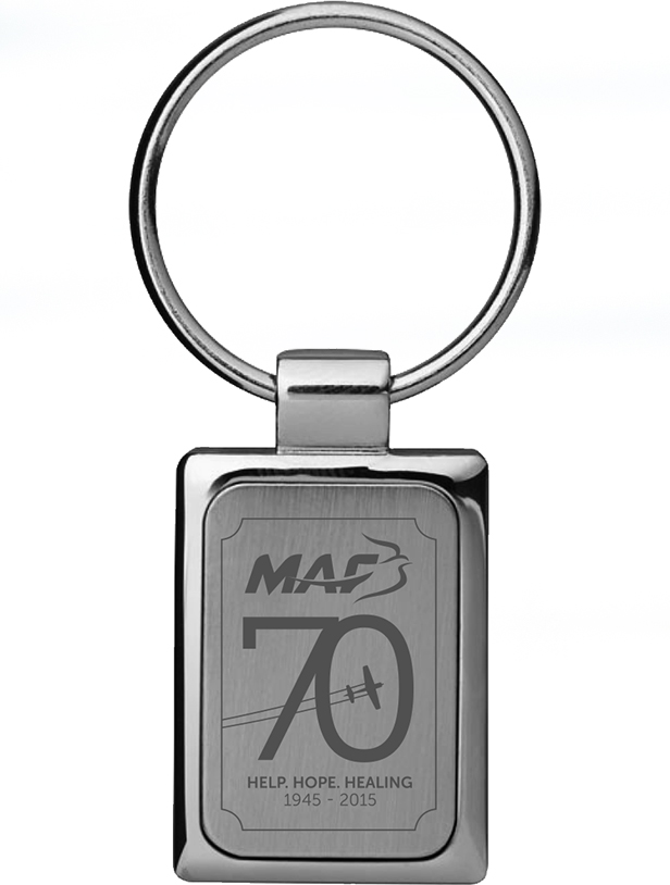 70 years keyring engraved with the MAF logo and 70th emblem.