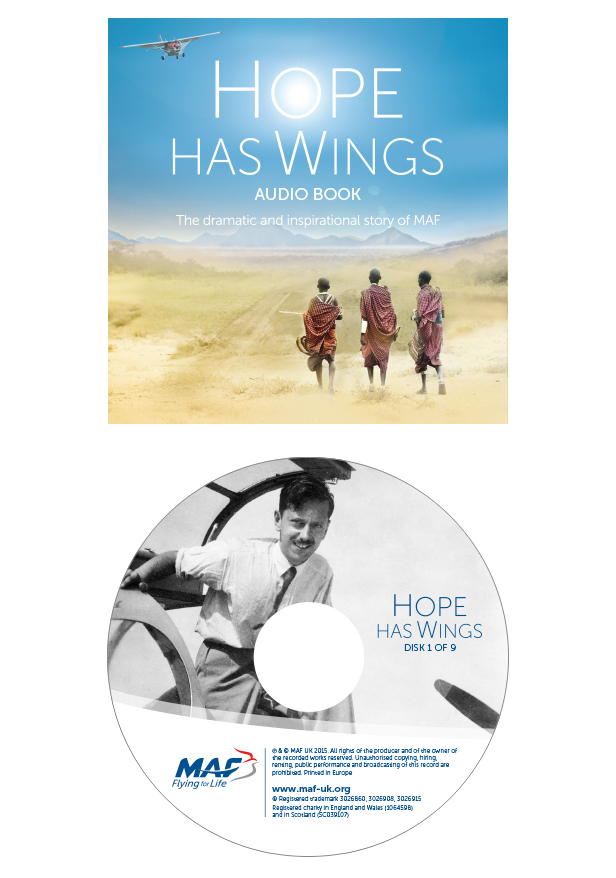 Artwork for the CD sleeves & CD's of the Hope has WIngs audio book.