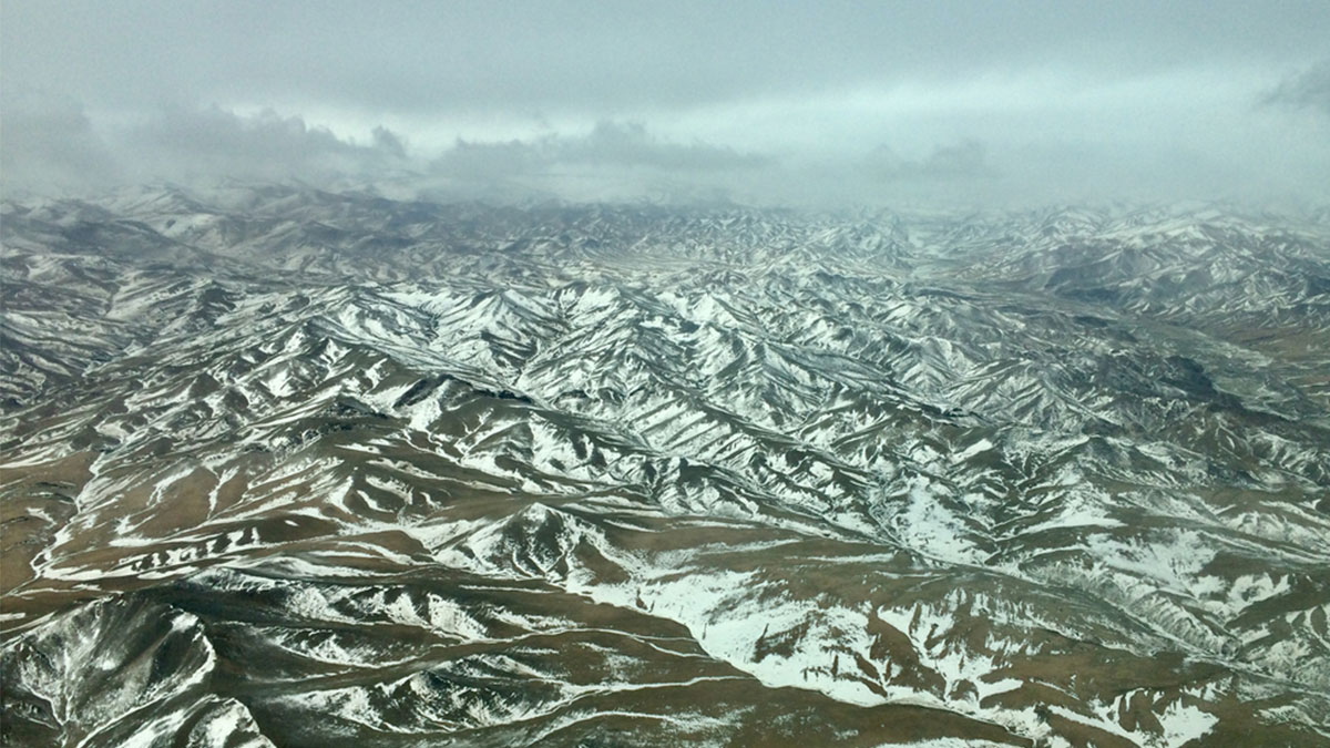 Mongolian landscape from the air