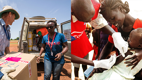 An MAF pilot loads a van with measles vaccines to take to Aweil - Mary's daughter is vaccinated by a Medair health worker