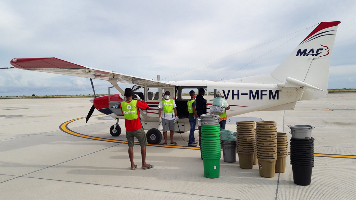 MAF joins forces with Oxfam to deliver 430kg of soap and buckets to 68,000 stranded people in Timor-Leste