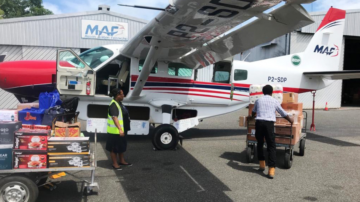 MAF transporting medicine and essential supplies to Balimo in the Western Province, Papua New Guinea