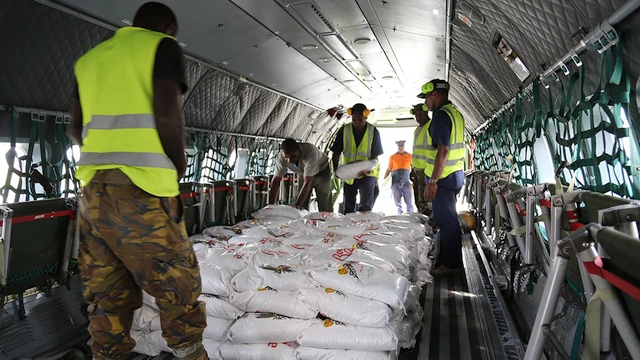 Loading rice on to the PNG Defence Force aircraft