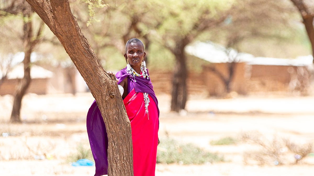 A tanzanian woman stood by a tree