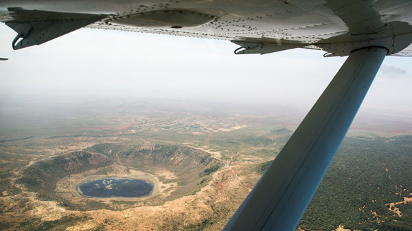 An MAF aircraft flies over Kenya