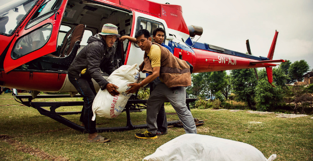 unloading helicopter in jharlang