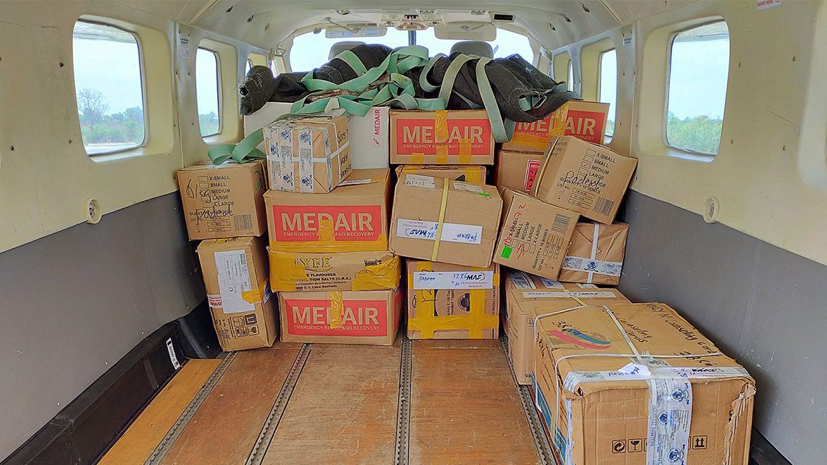An MAF plane full of essential medical supplies from Medair