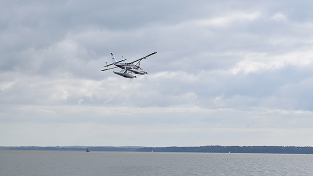 The floatplane doing a fly-by on 20 March at Calshot