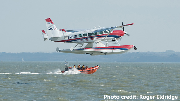Calshot RNLI helped the floatplane land safely. Photo credit: Roger Eldridge