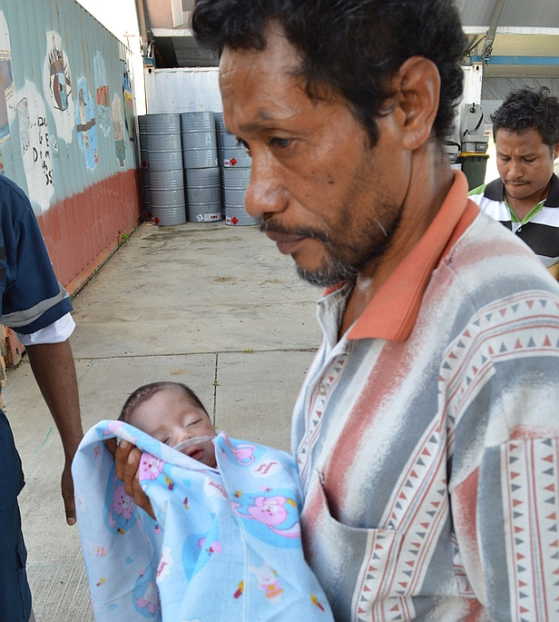 Baby Joao and father were flown by MAF to hospital in Dili, Timor-Leste