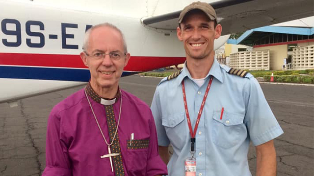 Archbishop of Canterbury with pilot Nick Frey