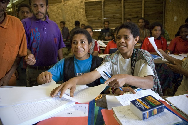 Students at Oksapmin High School PNG