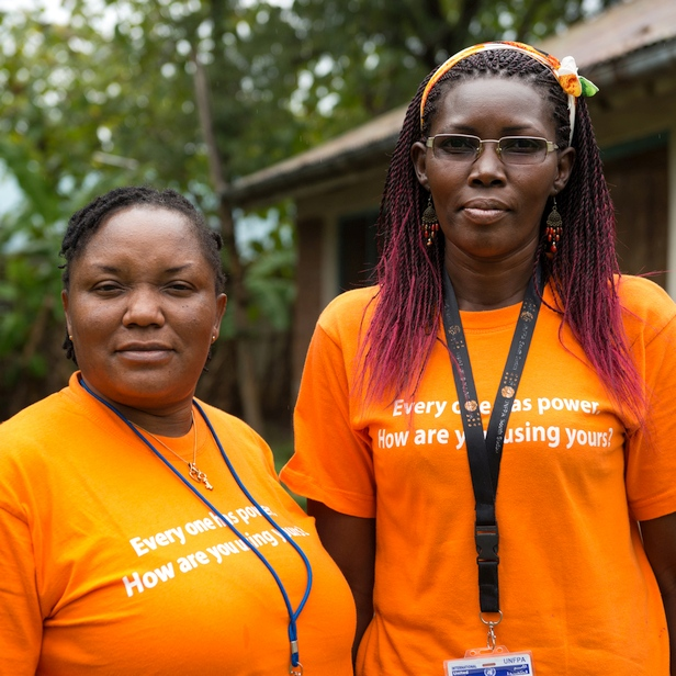 "Nigerian midwife Irene Ewuzie and Ugandan midwife Mary Akotimolla work for United Nations Population Fund (UNFPA) in Kajo Keji, South Sudan, as part of the ""Deploying Midwives Project"""