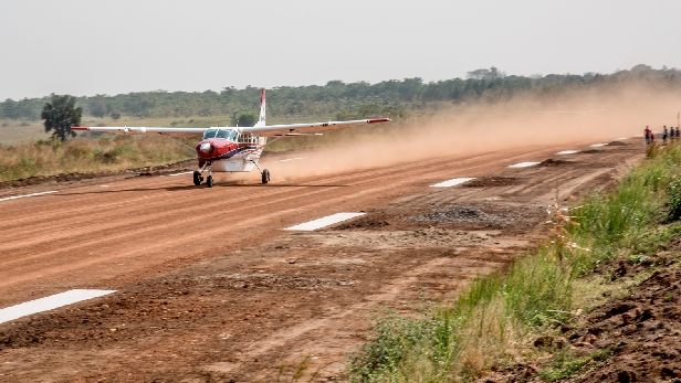 MAF plane on Adjumani airstrip in northern Uganda