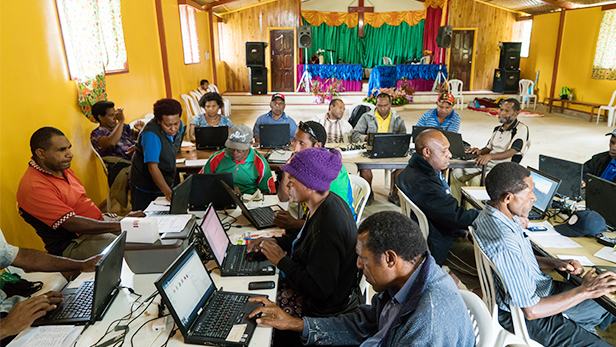 Learning Technologies PNG, a branch of CRMF (Christian Radio Missionary Fellowship), holds a computer training workshop for pastors and church workers at the Papua New Guinea Christian Fellowship