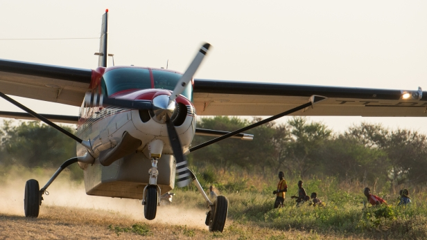 MAF Cessna 208 Caravan TT-BER takes off in Chad during medical safari to villages