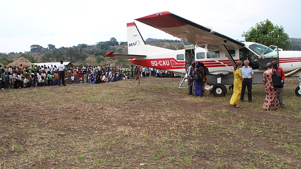 MAF aircraft at DRC Logo Bible dedication - Ashley Peterson