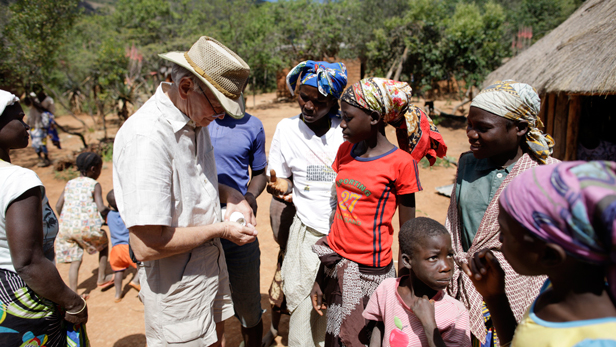 Dr. Steve Collins gives out worming tablets in Mukwando.