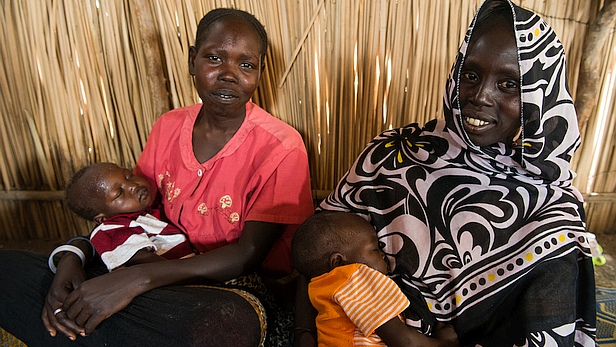 Adjok and Omjima at the IDP camp in Renk, South Sudan, treated by Medair. Photo credit: LuAnne Cadd/MAF