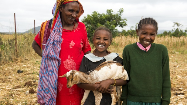 Sube, a Borana widow with her daughter, prepares to give her goat offspring to a Rendille widow as part of the Sauti Moja peace project. Photo: LuAnne Cadd
