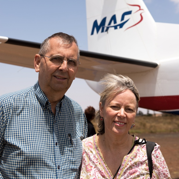 Tim and Lyn Wright, Sauti Moja project founders with MAF aircraft. Photo by LuAnne Cadd