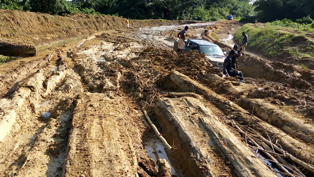 An example of the challenging road conditions in Liberia