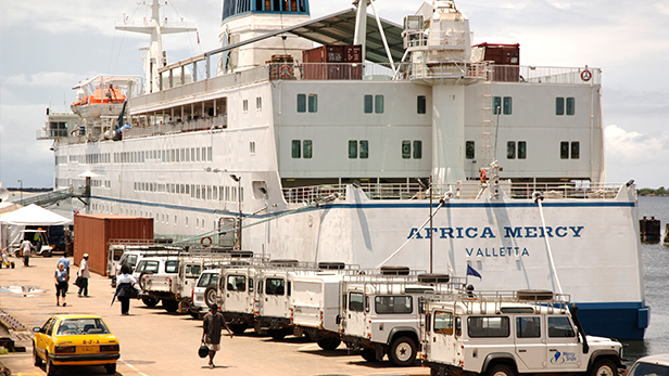The Africa Mercy ship docked in Liberia in 2008