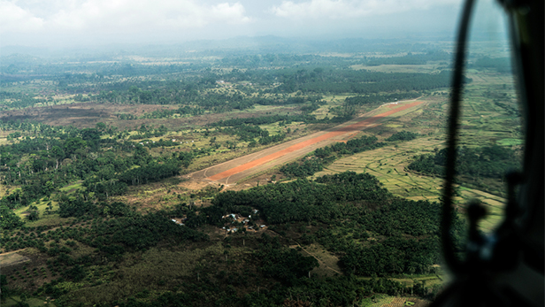 Foya airstrip in the far northeast of Liberia. Image credit LuAnne Cadd. Copyright Mission Aviation Fellowship.