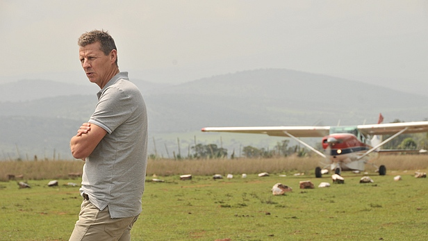 Steve Cram with the MAF plane at Entesekera, Kenya - MAF