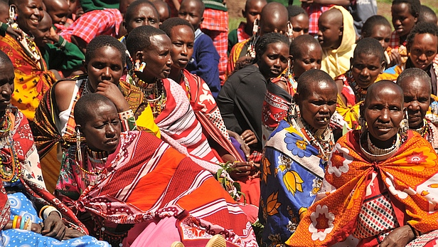 Masaai women gathered for the opening ceremony of the new school facilities at Maasai Academy at Olorte, Kenya - MAF.