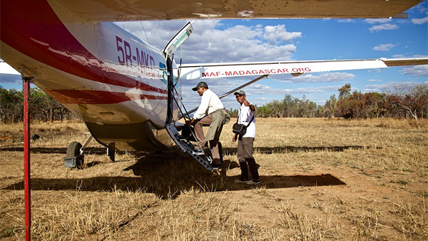 The medical safari team boards the MAF aircraft in Madagascar