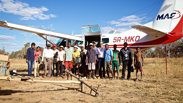 The medical safari team with the MAF aircraft in Madagascar