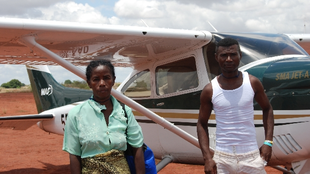 Jean Laurent and Salanto Christine, patients helped by MAF and Mercy Ships in Madagascar. Cessna 182 SMA
