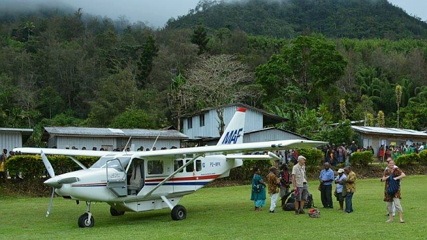 MAF GA8 Airvan aircraft at Nankina, Papua New Guinea