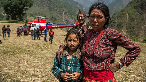 MAF and Acted survey destroyed village in Nepal. #EarthquakeAgain. MAF/LuAnne Cadd
