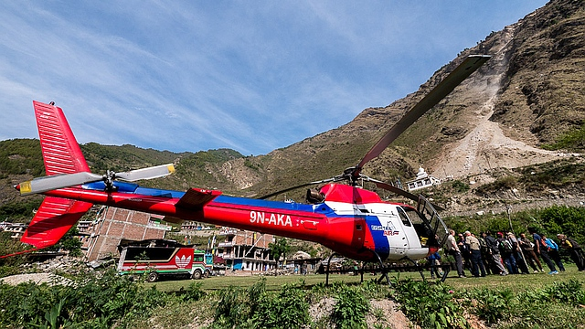 Fishtail Air helicopter is part of MAF's emergency flight service in Nepal. Photo credit: Dave Forney