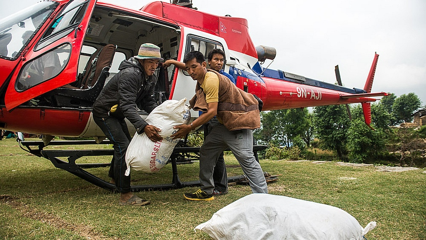 Food is delivered to remote Jharlang, Nepal. Photo credit: MAF/LuAnne Cadd