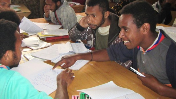 Students working in English class