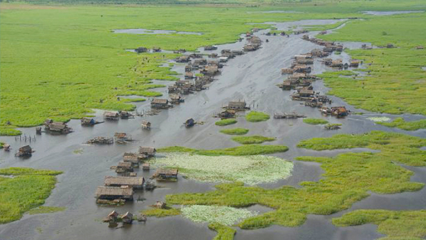 Aerial shot of village along the Sepik river