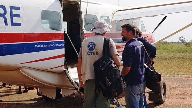 Michael Mangano and two ACTED colleagues are ready to depart from Maridi after a three-day workshop. ACTED has projects in other parts of South Sudan and to visit them it is crucial to be able to travel by air, rather than to travel by land on bad and insecure roads.