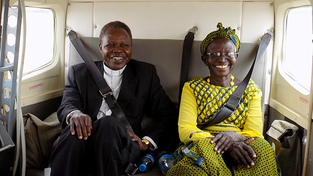 Father Romeo Todo, from the South Sudan Scripture Union. The woman is Honourable Lucy Yaya, a National Member of Parliament for the Chukudum Area.