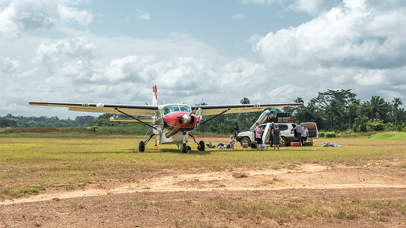 MAF aircraft on the ground in Liberia. Photo Credit Balz Kubli