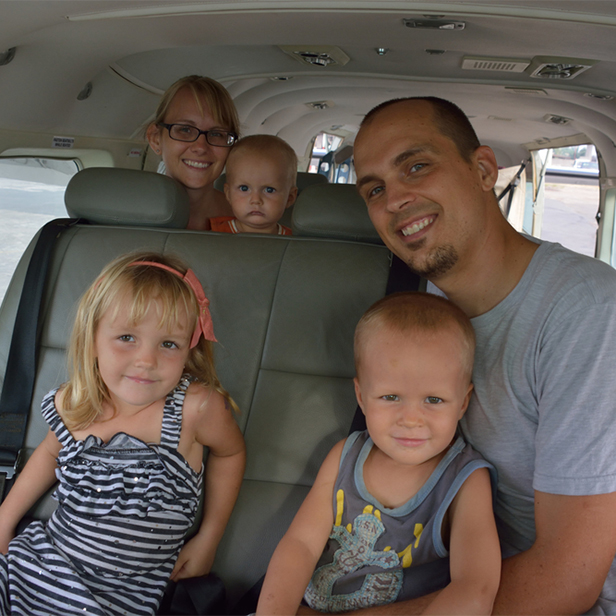 The Sheppard family serving with SIM, in an MAF aircraft in Liberia. Photo credit Mark Sheppard