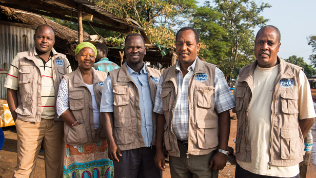 The CMA Eye Team in Lui, South Sudan in August 2014. From left to right:  Santino Malang, catharact surgeon; Ann Njeru, anesthetist; Daniel Erus, Ophthalmic Officer; Joseph Njau, Project Coordinator and Ophthalmic Officer; Elvis Sempele, Ophthalmic Technician.