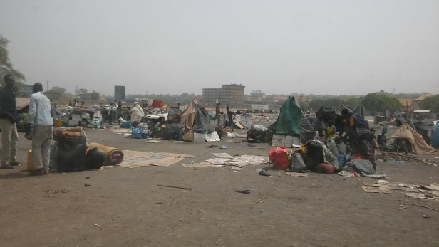 Refugee camp on the side of the airport
