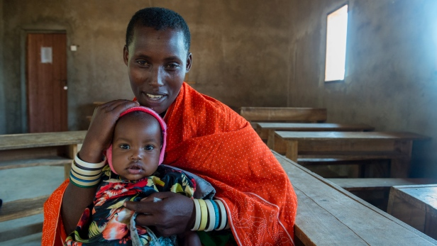 Rehema and babya Veronica at medical clinic in Tanzania - MAF